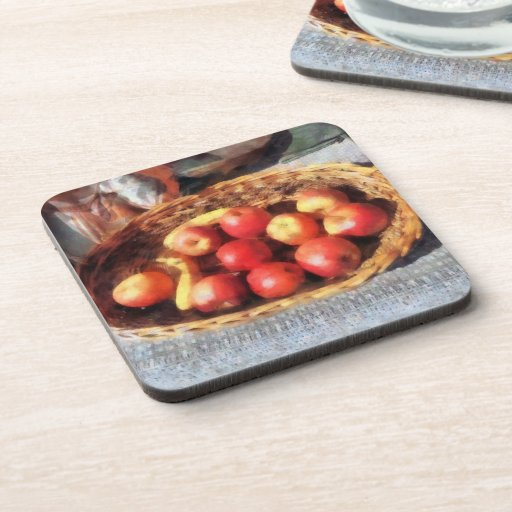 Apples and Bananas in Basket Drink Coasters