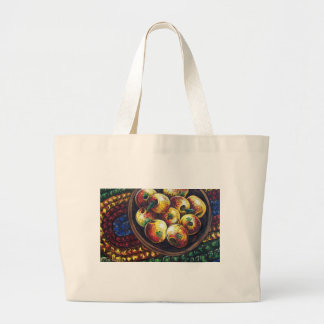 apples and braided rug large tote bag