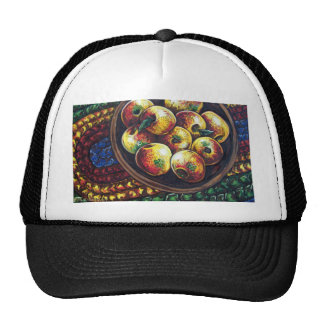 apples and braided rug mesh hats