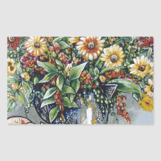apples and flowers rectangle sticker