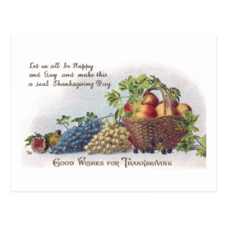 Apples and Grapes Vintage Thanksgiving Postcard