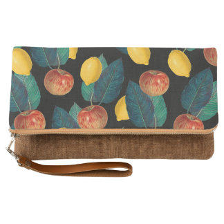 apples and lemons black clutch