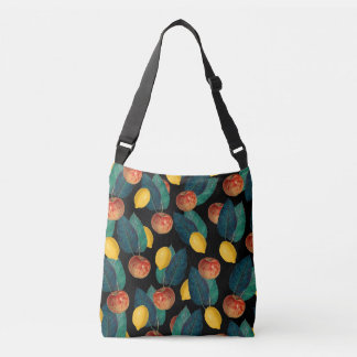 apples and lemons black crossbody bag