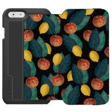 apples and lemons black iPhone 6/6s wallet case