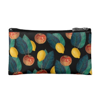 apples and lemons black makeup bag