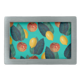 apples and lemons teal rectangular belt buckle