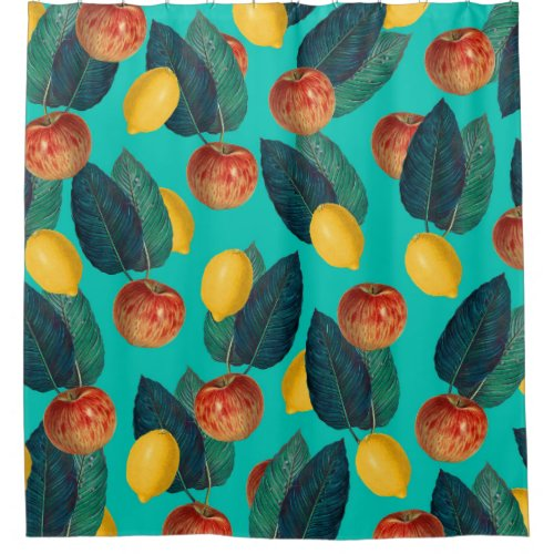 apples and lemons teal shower curtain