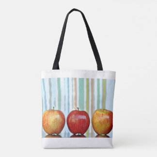 Apples and Marbles with striped background Tote Bag