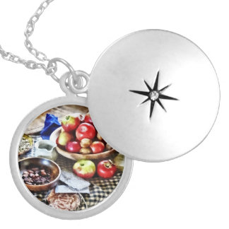 Apples And Nuts Silver Plated Necklace