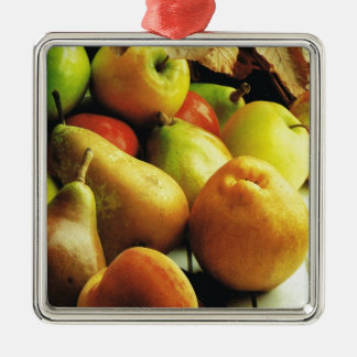 Apples and oranges metal ornament