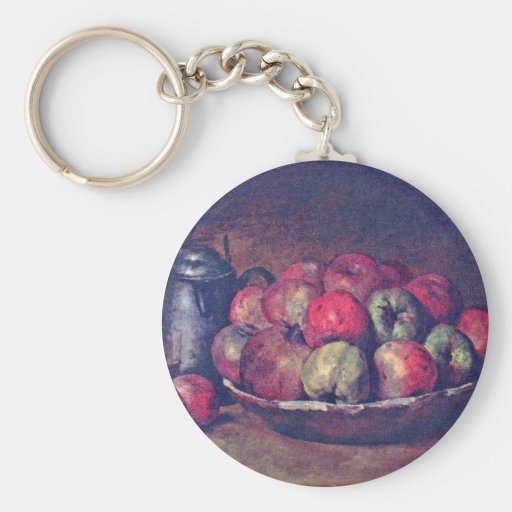 Apples And Pomegranates By Courbet Gustave Keychains