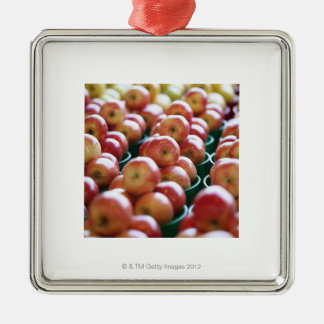Apples at a market stall square metal christmas ornament