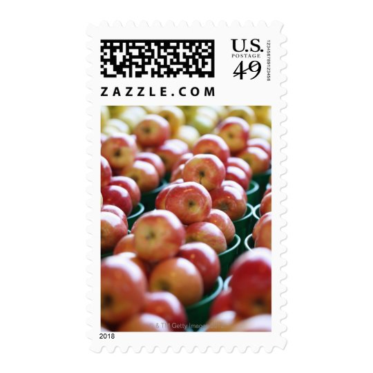 Apples at a market stall postage
