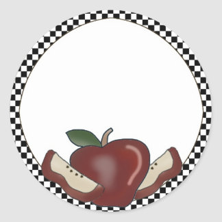 Apples & Checked Border Blank Stickers