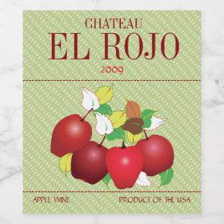 Apples Fruit Botanical Summer Harvest Garden Wine Label