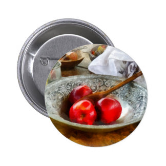 Apples in a Silver Bowl Pinback Button