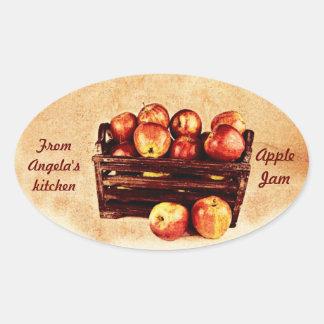Apples in a wooden basket preserves label