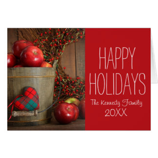 Apples in wood bucket for holiday baking card