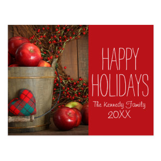 Apples in wood bucket for holiday baking postcard