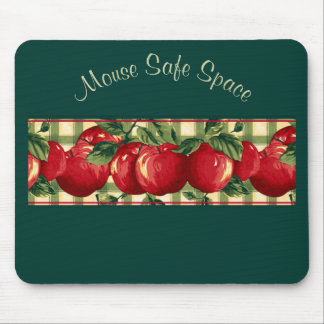 Apples on Gingham Mouse Pad
