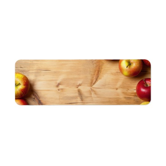 Apples On Wooden Table Background Label