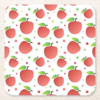 Apples pattern square paper coaster