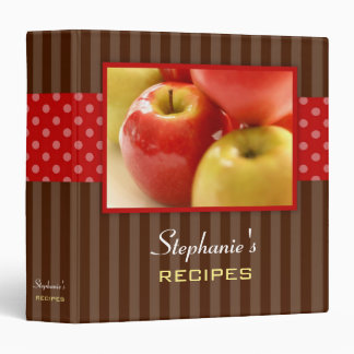 Apples Polka Dot Stripe Recipe Binder
