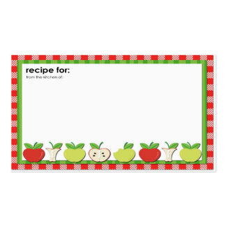 Apples theme red green recipe business cards