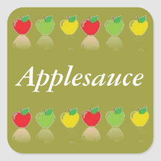 Applesauce Canning Label Homemade Fruit Square Sticker