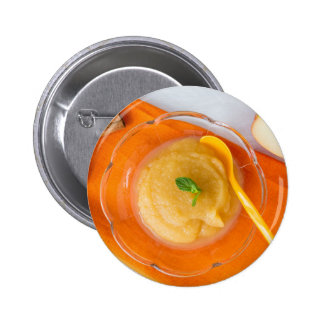 Applesauce with cinnamon and orange spoon pinback button