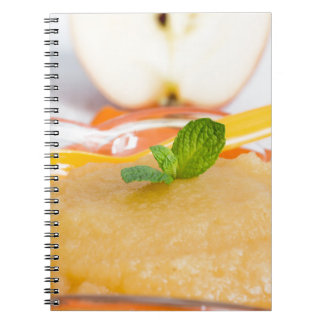 Applesauce with cinnamon and orange spoon spiral note books