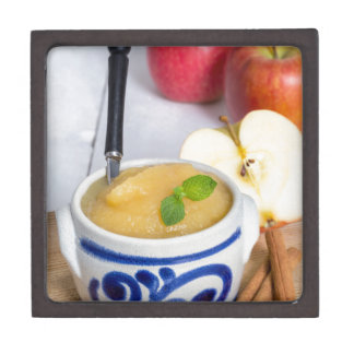 Applesauce with cinnamon in stoneware bowl jewelry box