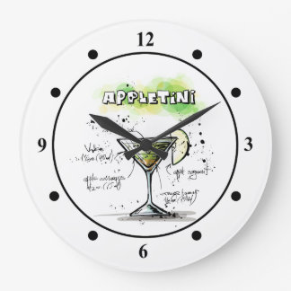 AppleTini Drink Recipe Design Large Clock