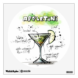 AppleTini Drink Recipe Design Room Stickers