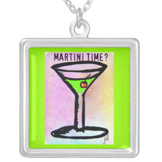 APPLETINI TIME PASTEL PRINT by Jill Square Pendant Necklace