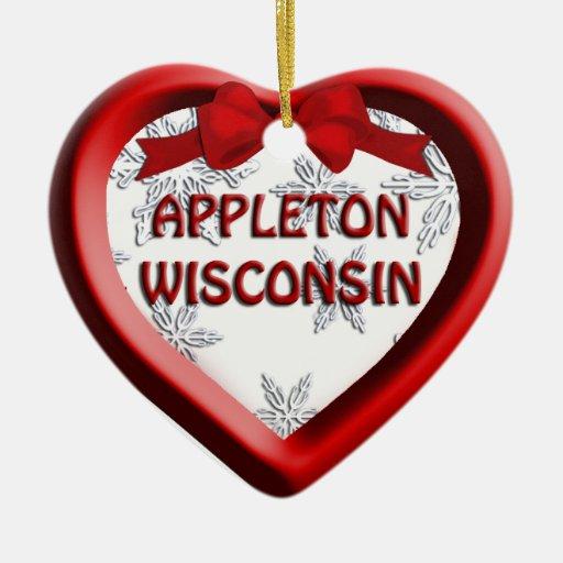 Appleton Wisconsin Heart Christmas Ornament