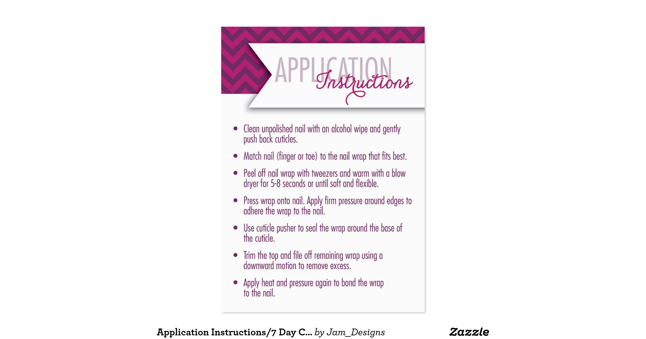 Application instructions 7 day challenge cards large for Business card application