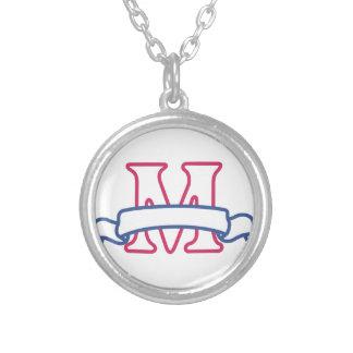 Applique Banner M Round Pendant Necklace