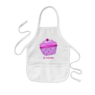 Applique Cupcake Kids Apron - Mauve and Pink