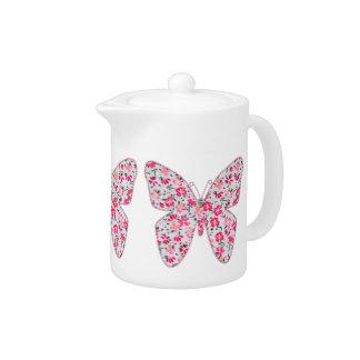 Applique fabric butterflies floral pink teapot