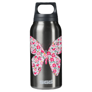Applique fabric butterfly floral pink insulated water bottle