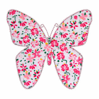 Applique fabric butterfly floral pink photo sculpture