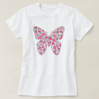 Applique fabric butterfly floral pink T-Shirt