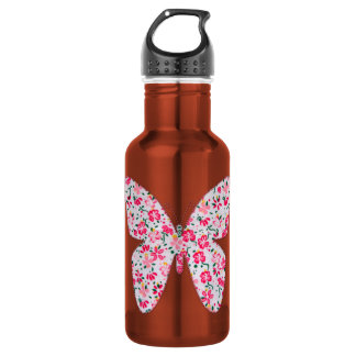 Applique fabric butterfly floral pink water bottle