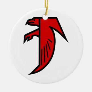 Applique Falcon Ceramic Ornament