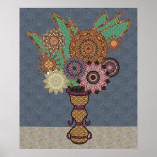 Appliqué Flowers In Vase Poster
