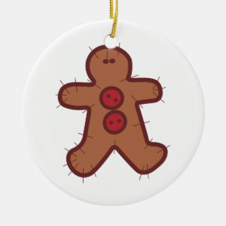 Applique Gingerbread Double-Sided Ceramic Round Christmas Ornament