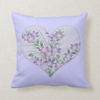 Appliqué heart with flowers pillow
