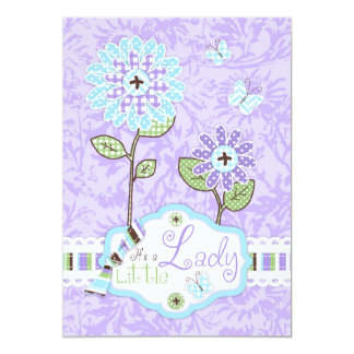 Applique-look Flower Baby Shower Invite A7-IRIS