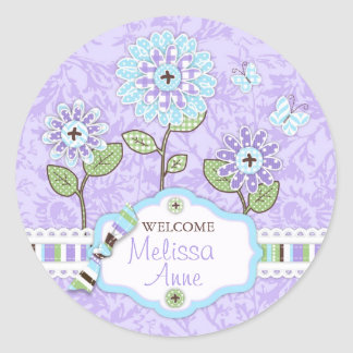 Applique-look Flowers Baby Shower Sticker Iris 2